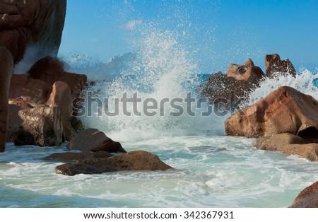 Sunlit Sea Foam Magnificent Seychelles  - stock photo