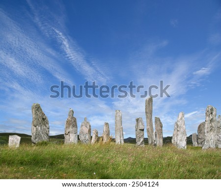 Sunlit Standing Stones at Callanish, Lewis, Western Isles, Scotland - stock photo