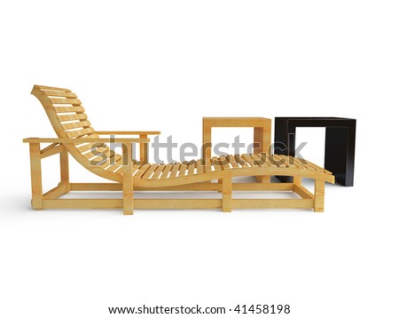 sunlounger and two racks on white