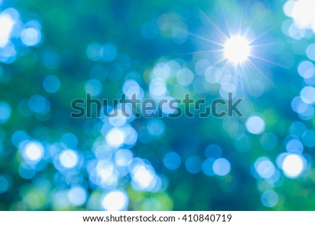 Sunny abstract green nature background, selective focus. - stock photo