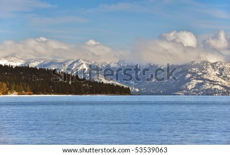 Sunny afternoon over lake Tahoe in winter. - stock photo