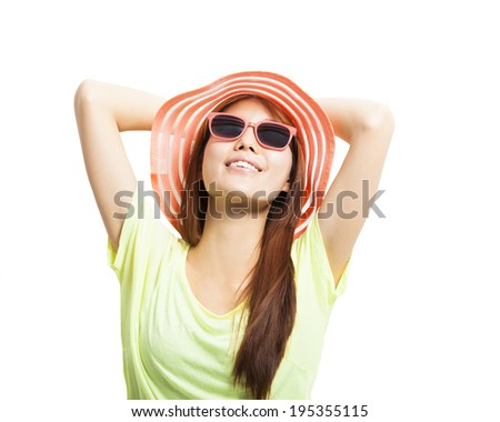 sunny and fashionable young woman  - stock photo