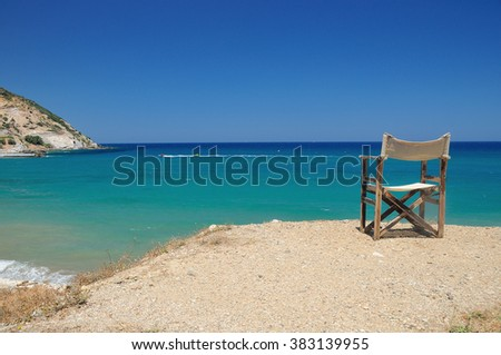 Sunny and sand beach in the middle of the day - stock photo