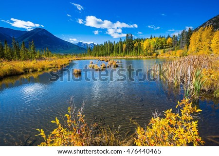 Sunny autumn day in the Canadian Rockies. Shallow Lake Vermilion among the mountains and forests