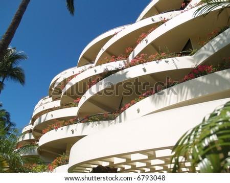 sunny balcony with flowers - stock photo