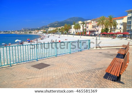 Sunny beach along the sea shore in Menton, French Riviera, France
