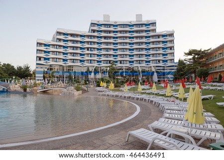 SUNNY BEACH, BULGARIA - JUNE 15, 2016: chic hotel Trakia Plaza with a swimming pool on site, and comfortable rooms.