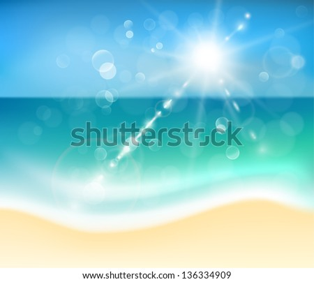 Sunny beach - raster version - stock photo