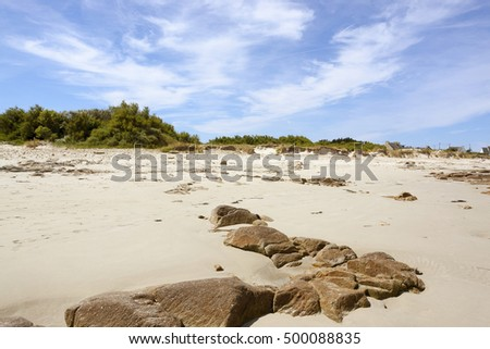 sunny beach scenery around Penmarch in Brittany