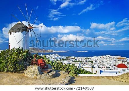 sunny beautiful Mykonos - amazing greek islands series - stock photo