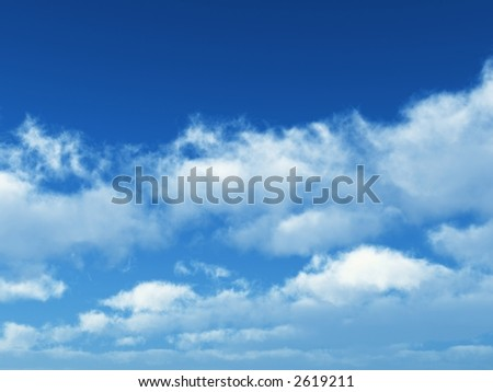 sunny blue sky with some white clouds - stock photo