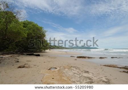 Sunny Costa Rica Tropical Beach and Coastline - stock photo