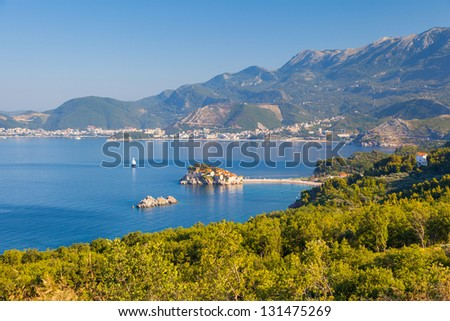 Sunny day and beautiful landscape over Montenegro coastline. Balkans, Adriatic sea, Europe. Beauty world.
