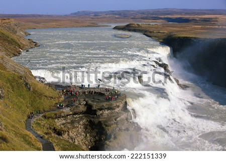 Sunny day at Gullfoss Waterfall in Iceland - stock photo