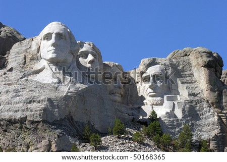 Sunny day at historic Mt. Rushmore National Park. - stock photo