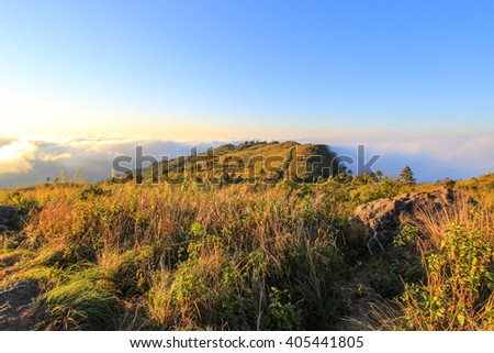sunny day at  Phu Chi Fa(a mountain area and national forest park in Thailand,a part of Doi Pha Mon,located at the northeastern end of Phi Pan Nam Range,Thoeng District,Chiang Rai Province.