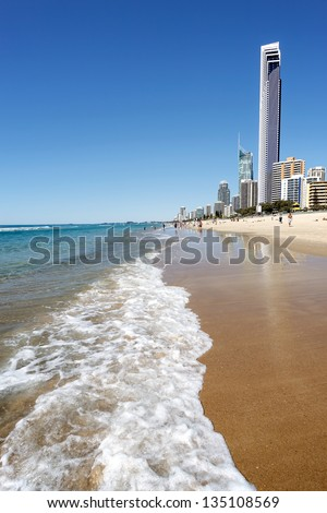 Sunny day at the beach, Gold Coast, Australia - stock photo