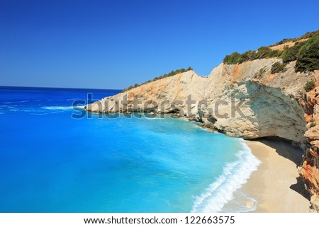 Sunny day at the famous Porto Katsiki beach on the island of Lefkada, Greece - stock photo