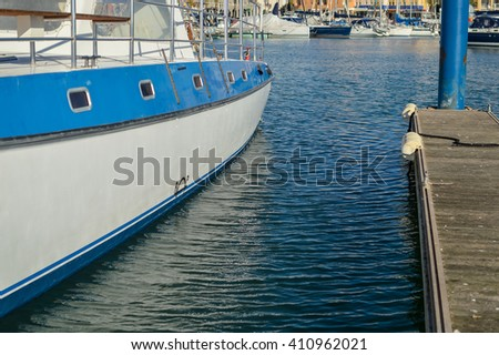 Sunny day at the marina, outdoors background