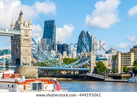 Sunny day at the Tower Bridge and financial district of London