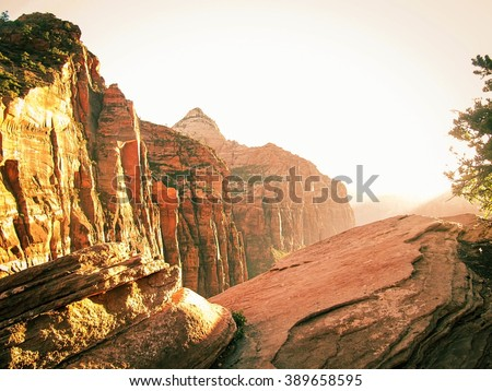sunny day from the top of mountain at Zion national park, USA - stock photo