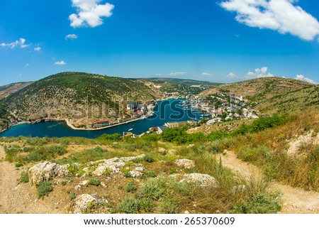 Sunny day in Balaklava bay, view from the top, fisheye - stock photo