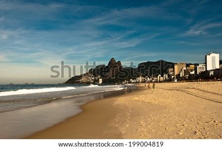 Sunny Day in Empty Ipanema Beach, Rio de Janeiro, Brazil - stock photo