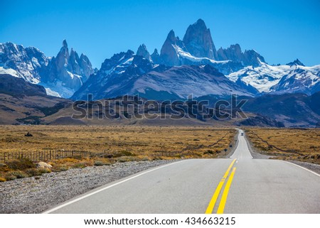 Sunny day in February in Argentine Patagonia. Excellent asphalt road to the majestic Mount Fitz Roy - stock photo