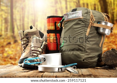 sunny day in forest and shoes  - stock photo