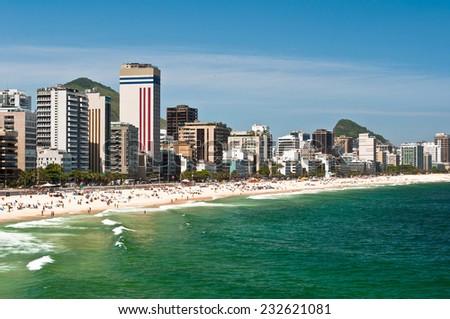 Sunny Day in Ipanema Beach, Rio de Janeiro, Brazil - stock photo