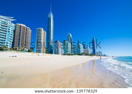 Sunny day in Surfers Paradise, Gold Coast, Queensland, Australia - stock photo
