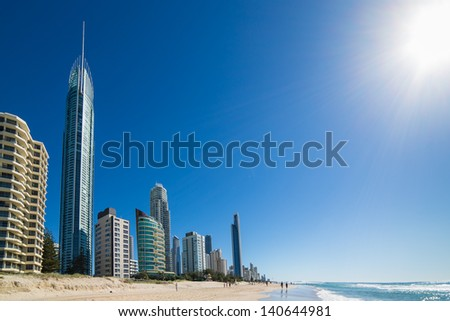 Sunny day in Surfers Paradise, Gold Coast, Queensland, Australia