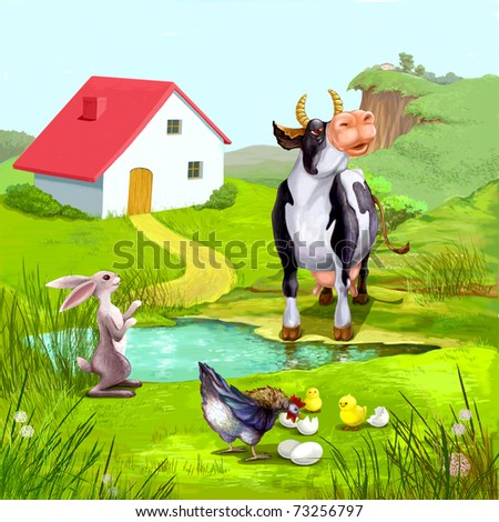 Sunny day in  village - stock photo