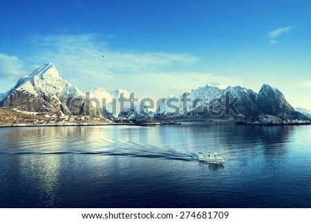 sunny day, Lofoten islands, Norway - stock photo