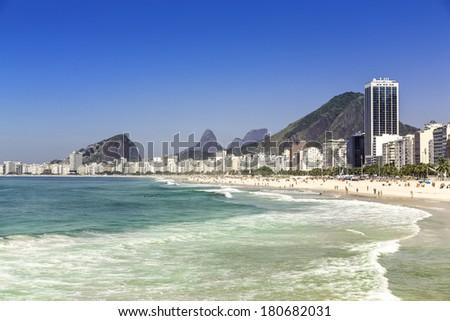 Sunny day on Copacabana Beach in Rio de Janeiro, Brazil - stock photo