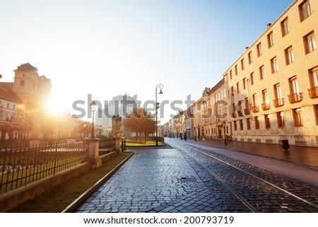 Sunny day on Hlavna street in Kosice, Slovakia - stock photo