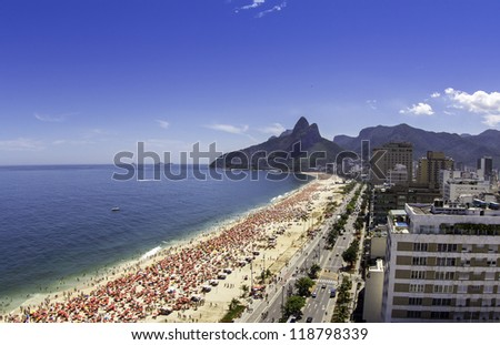 Sunny day on Ipanema Beach - stock photo