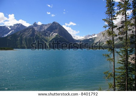 Sunny day on Kananaskis Upper Lake, Alberta, Canada