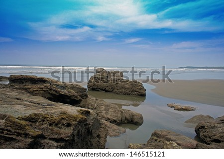 sunny day on lovely caribbean beach - stock photo