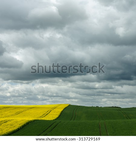 Sunny day on north Poland fields.Pomerania province/ Country Fields Landscape - stock photo