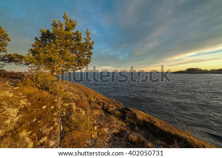 Sunny day on the rocky shore of the lake. Spring landscape