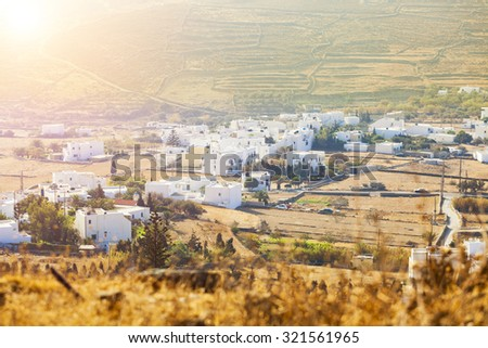 Sunny Day On Tinos Island, Small village in Tinos Island, Greece.  Amazing landscape of Tinos.  - stock photo