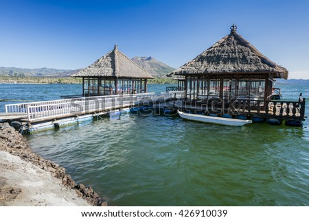 Sunny day over Floating Restaurant at Lake Batur Kintamani, Bali, Indonesia