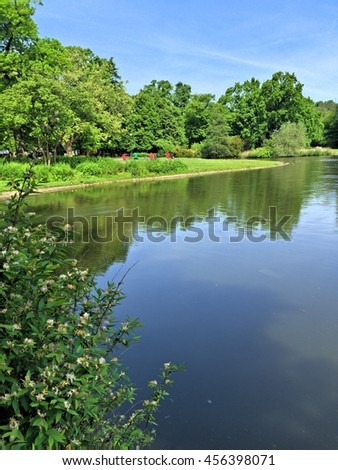 Sunny day over the lakes - stock photo