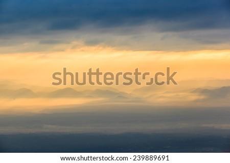 sunny effect to mountain scene - stock photo