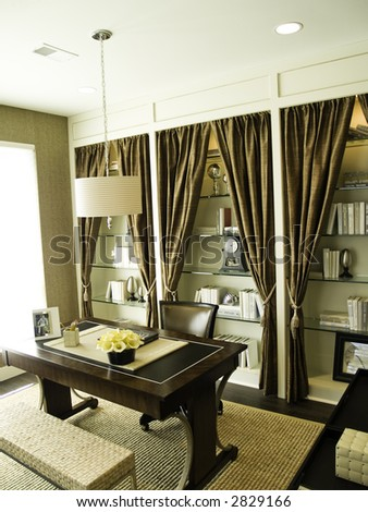 Sunny elegant home office - stock photo