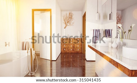 Sunny elegant marble bathroom with bathtub in summer (3D Rendering) - stock photo