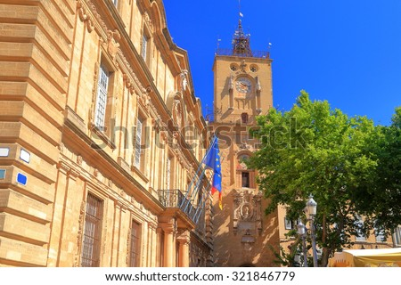 Sunny facades of old buildings in Aix-en-Provence, France - stock photo