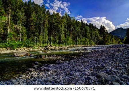 Sunny forest on mountain river - stock photo