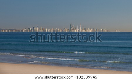 Sunny Gold Coast, view over the water from Coolangatta - stock photo